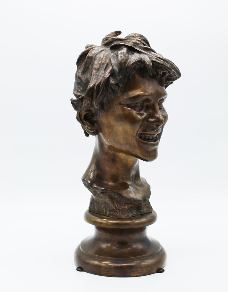 19th Century Italian Bronze Sculpture of Young Boy Signed by Vincenzo Gemito In Good Condition In Roma, IT