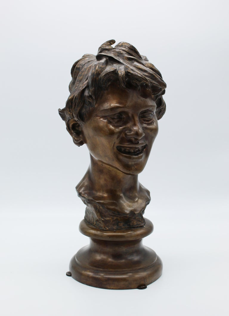 19th Century Italian Bronze Sculpture of Young Boy Signed by Vincenzo Gemito 1