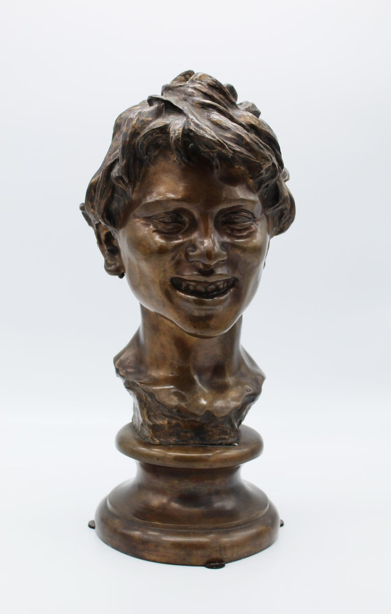 19th Century Italian Bronze Sculpture of Young Boy Signed by Vincenzo Gemito 2