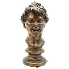 19th Century Italian Bronze Sculpture of Young Boy Signed by Vincenzo Gemito