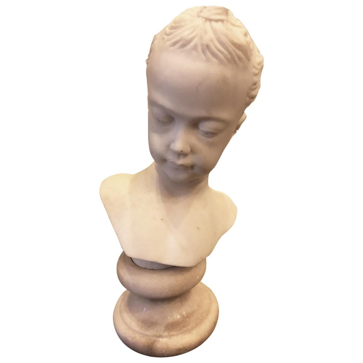 19th Century Italian Bust of Young Girl