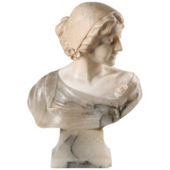 19th Century Italian Buste, Alabaster Girl Signed ROSSI