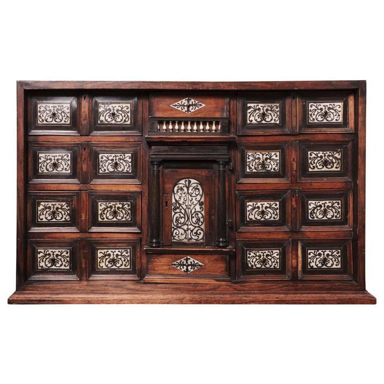 19th Century Italian Cabinet with Ivory Inlaid For Sale