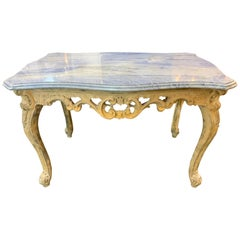 19th Century Italian Carved and Bleached Side Table with Exotic Marble Top
