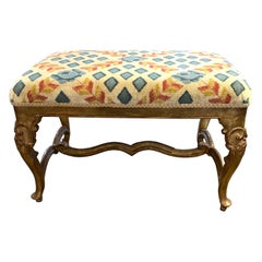 19th Century Italian Carved and Giltwood Upholstered Bench