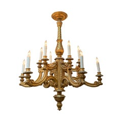19th Century Italian Carved and Giltwood 12-Light Chandelier