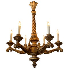 19th Century Italian Carved and Giltwood 6-Light Chandelier