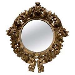 19th Century Italian Carved and Giltwood Round Baroque Style Mirror