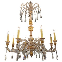 19th Century Italian Carved and Parcel Giltwood and Beaded Crystal Chandelier