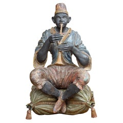 19th Century Italian Carved and Polychromed Ethnic Musician