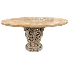 19th Century Italian Carved and White Washed Pedestal Center Table
