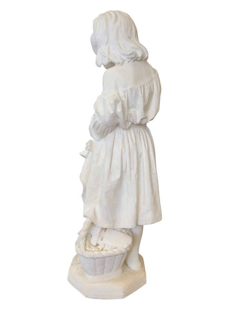 19th Century Italian Carved Marble Figure of a Young Girl by Caroni For Sale 3