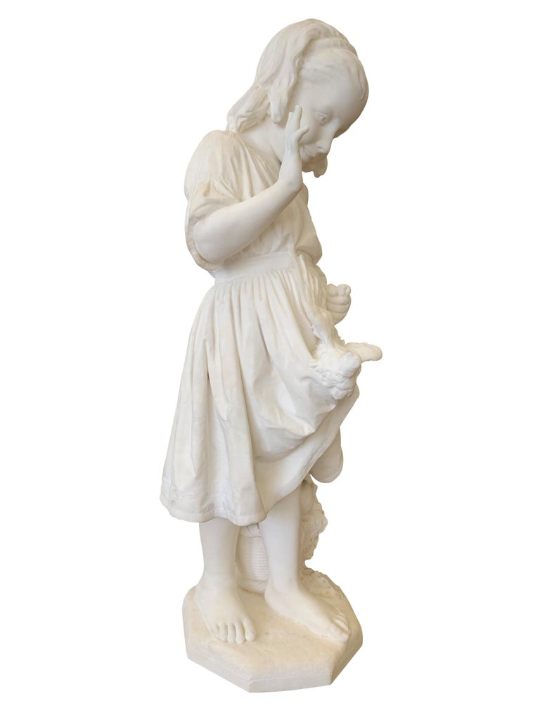 Hand-Carved 19th Century Italian Carved Marble Figure of a Young Girl by Caroni For Sale