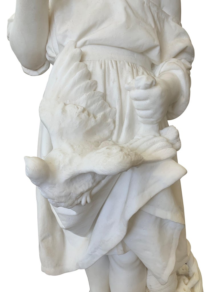 19th Century Italian Carved Marble Figure of a Young Girl by Caroni For Sale 5