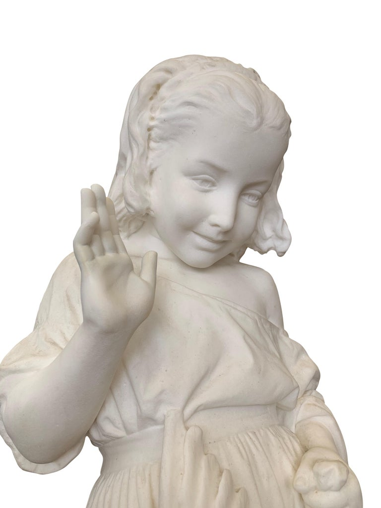 19th Century Italian Carved Marble Figure of a Young Girl by Caroni For Sale 6