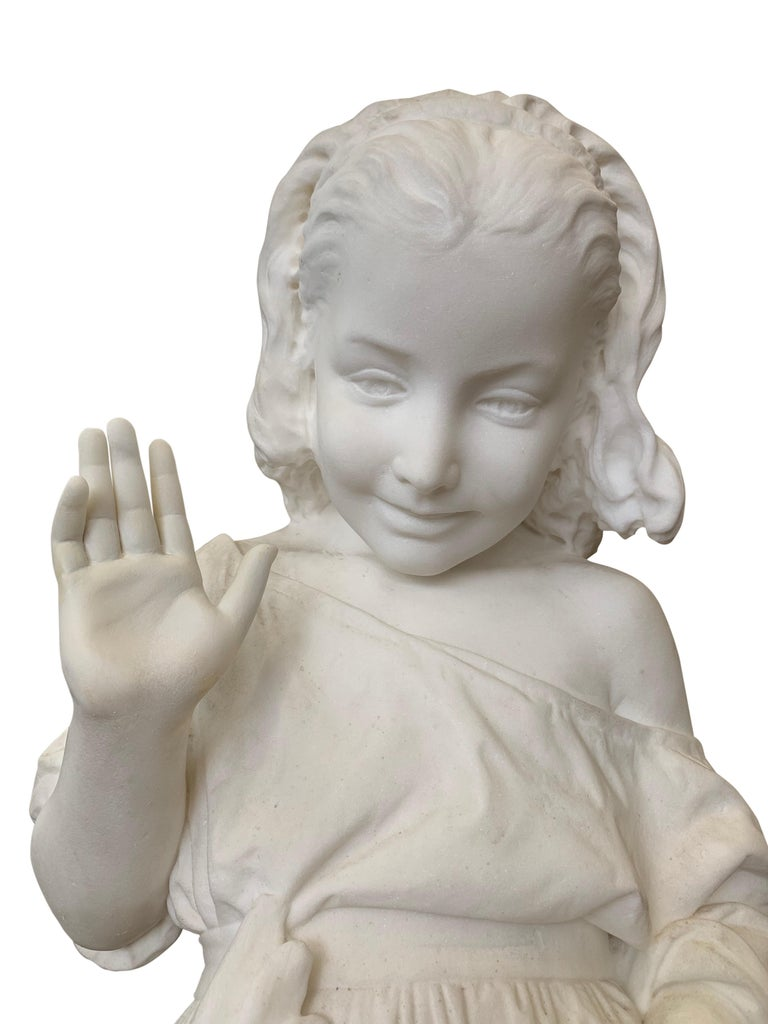 19th Century Italian Carved Marble Figure of a Young Girl by Caroni For Sale 7