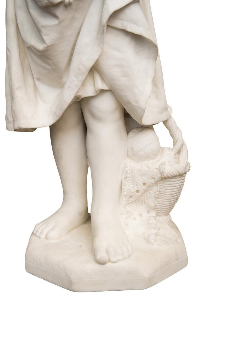 19th Century Italian Carved Marble Figure of a Young Girl by Caroni For Sale 2