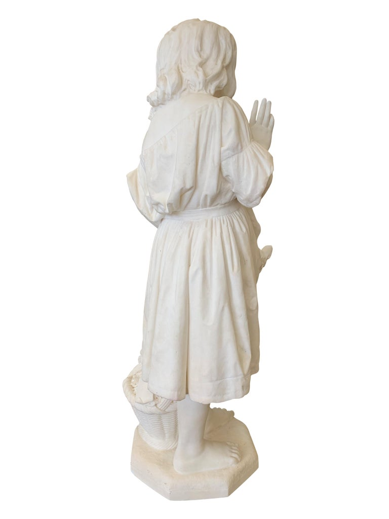 19th Century Italian Carved Marble Figure of a Young Girl by Caroni In Good Condition For Sale In Los Angeles, CA