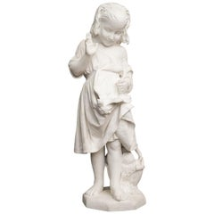 19th Century Italian Carved Carrara Marble Figure of a Young Girl