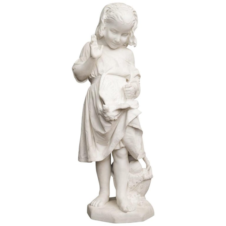 19th Century Italian Carved Marble Figure of a Young Girl by Caroni For Sale