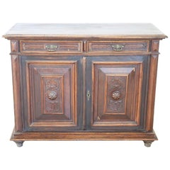 19th Century Italian Carved Chestnut Sideboard or Buffet