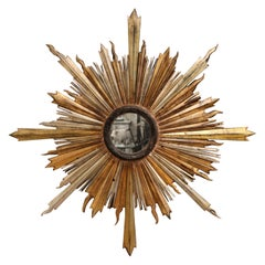 19th Century Italian Carved Giltwood and Silvered Sunburst Mirror