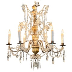 19th Century Italian Carved Giltwood and Beaded Chandelier