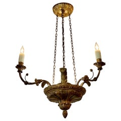 19th Century Italian Carved Giltwood and Iron Chandelier with 3 Lights