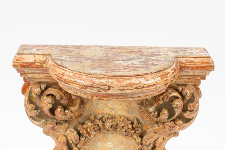 Hand-Carved 19th Century Italian Carved Giltwood Console For Sale