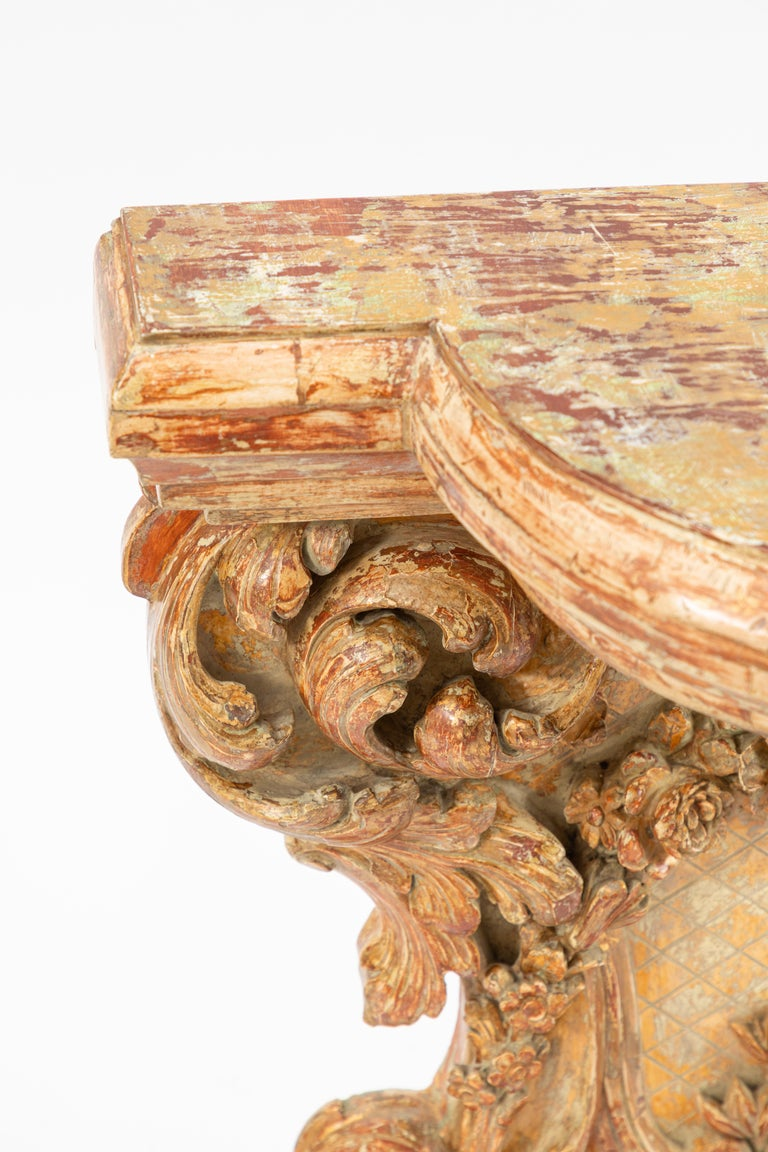 18th Century 19th Century Italian Carved Giltwood Console For Sale