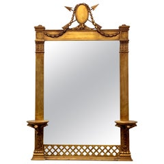 19th Century Italian Carved Giltwood Mirror with Wall Brackets Shelves