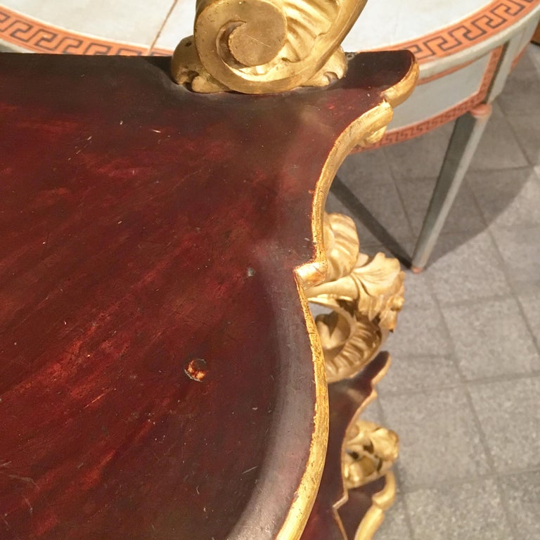 19th Century Italian Carved Louis Philippe Corner Shelf with Gold Leaf Gilding For Sale 5
