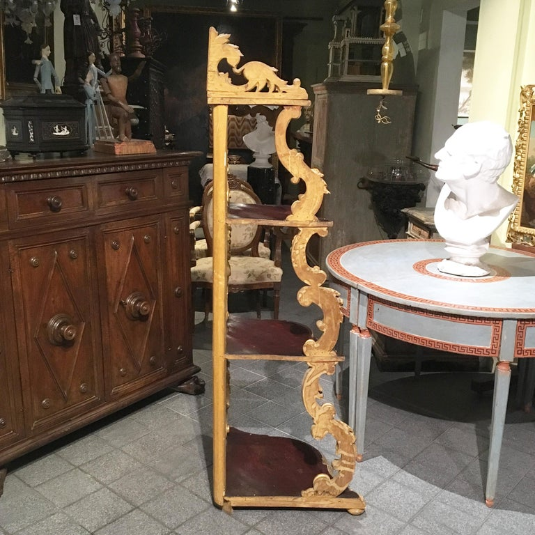 19th Century Italian Carved Louis Philippe Corner Shelf with Gold Leaf Gilding For Sale 11