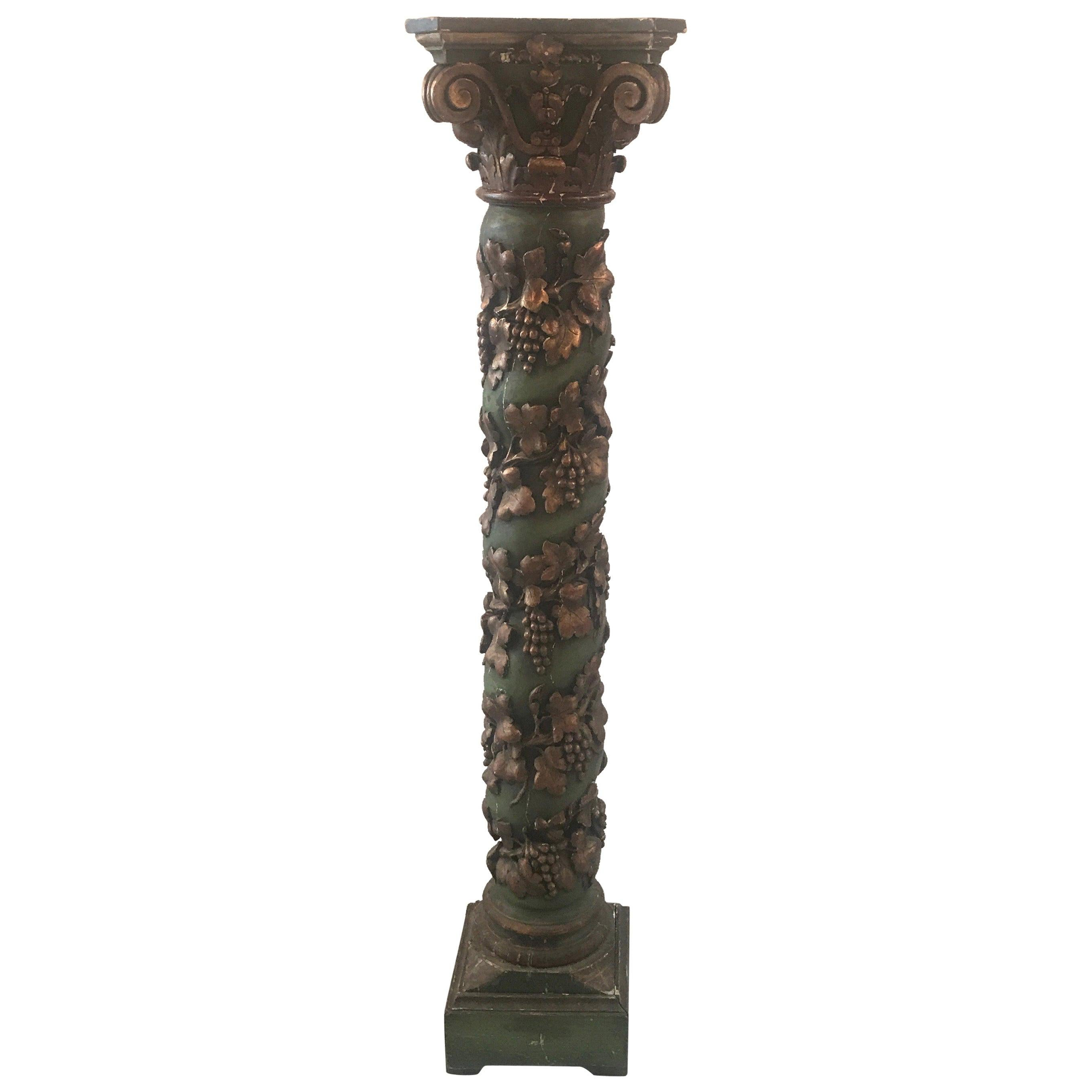 19th Century Italian Carved Oak Painted Pedestal Column