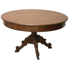 19th Century Italian Carved Oak Round Extendable Antique Dining Room Table