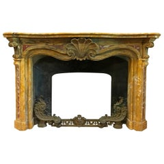 19th Century, Italian Carved Old Yellow Marble Fireplace