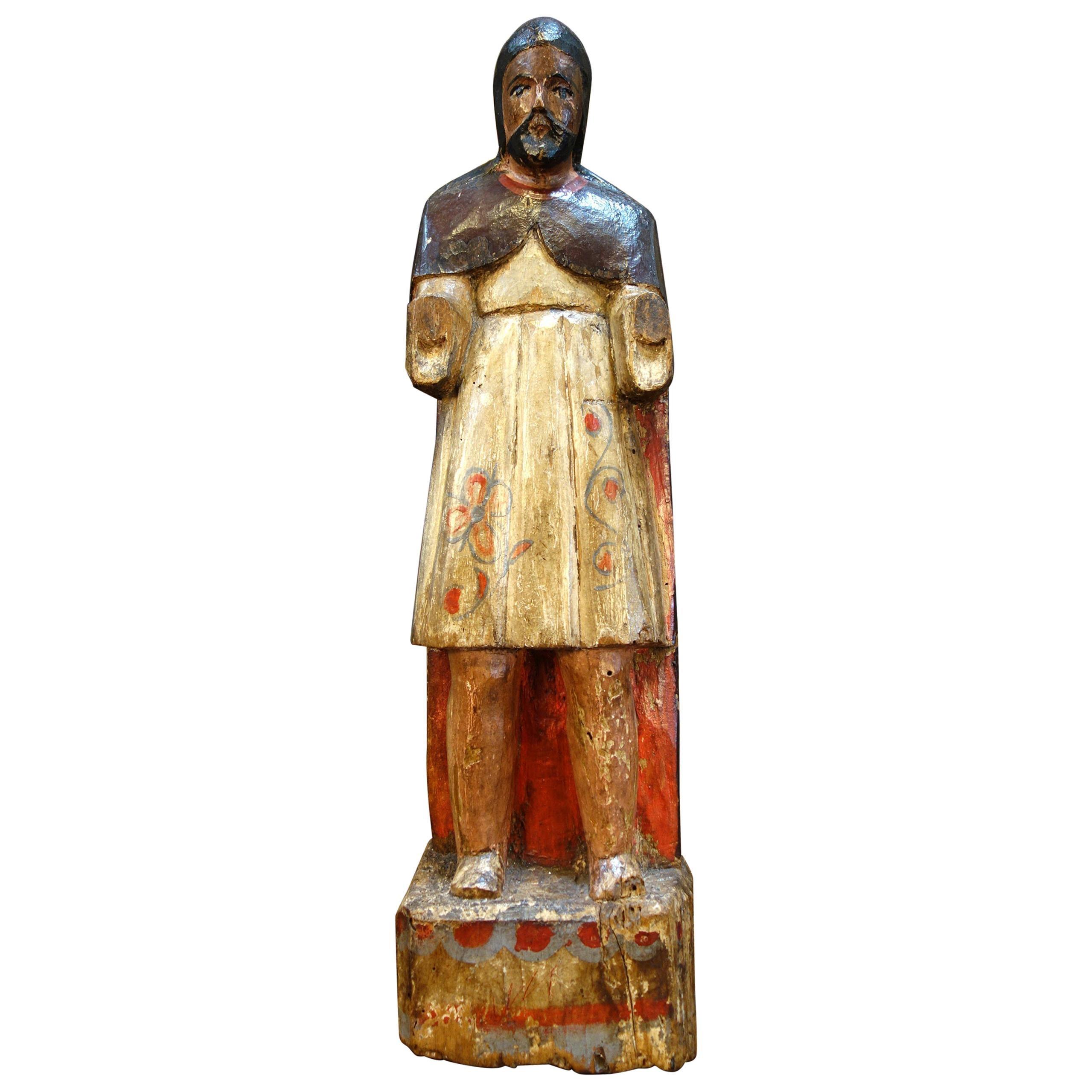 19th Century Italian Carved & Painted Primitive Male Santos Wood Sculpture