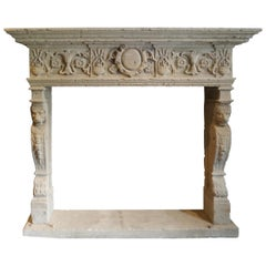 19th Century Italian Carved Stone Mantel Piece