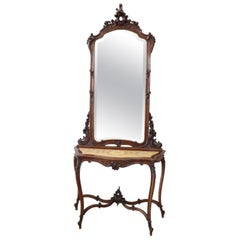 19th Century Italian Carved Walnut Antique Console Table with Mirror