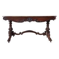 19th Century Italian Carved Walnut Antique Writing Desk