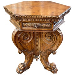 19th Century Italian Carved Walnut Hexagonal Side Table