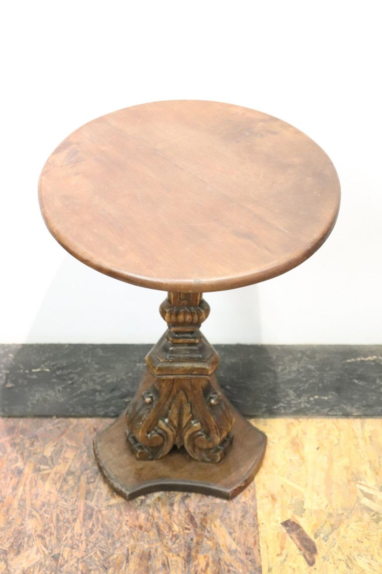 19th Century Italian Carved Walnut Round Side Table or Pedestal Table For Sale 2