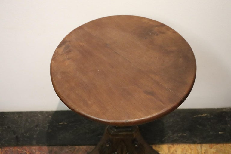 19th Century Italian Carved Walnut Round Side Table or Pedestal Table For Sale 3