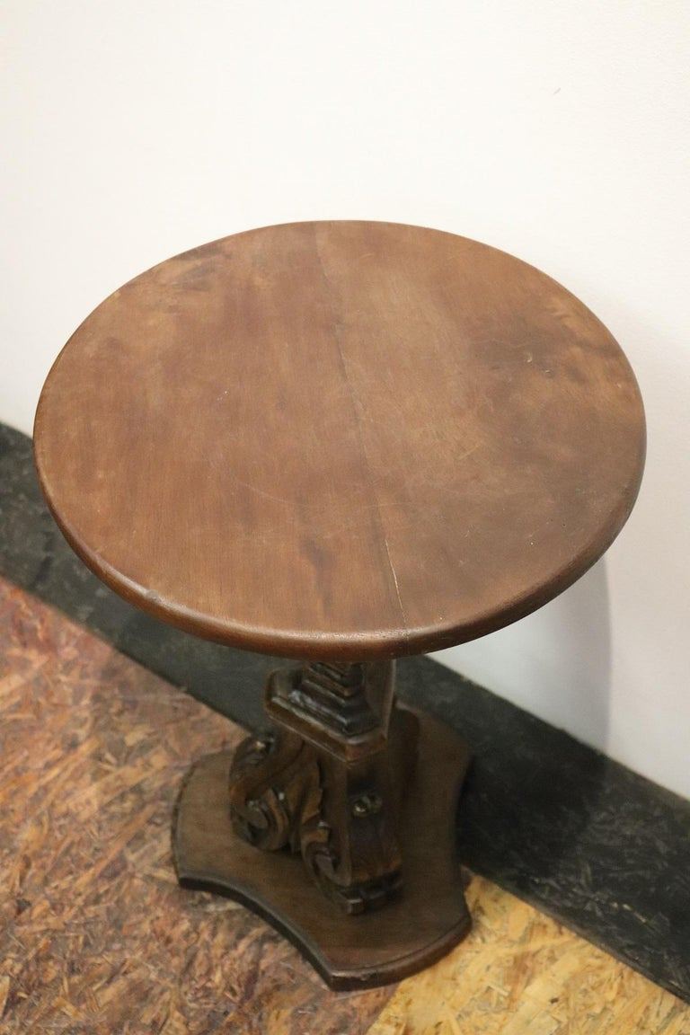 19th Century Italian Carved Walnut Round Side Table or Pedestal Table For Sale 4