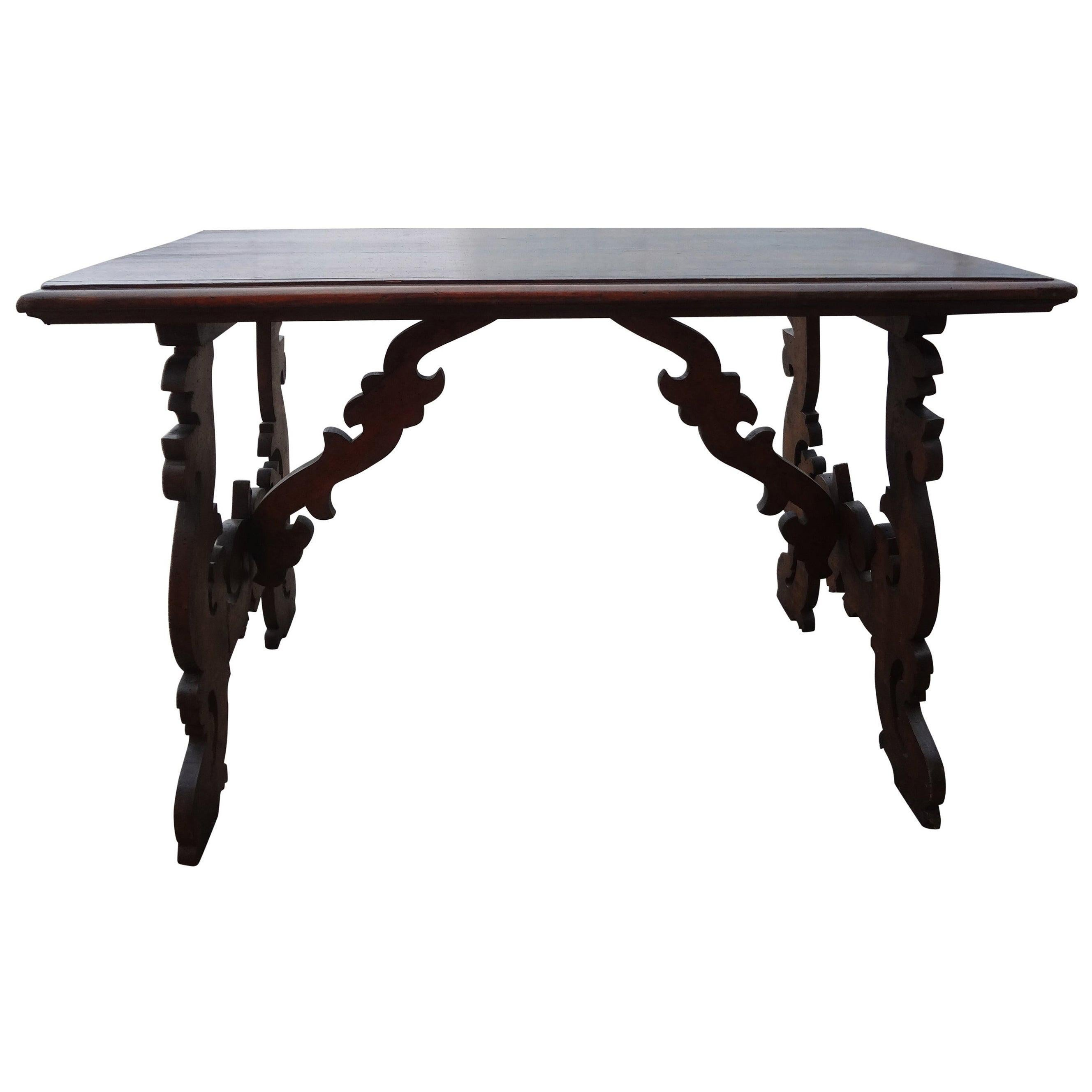 19th Century Italian Carved Walnut Table