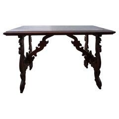 19th Century Italian Carved Walnut Table