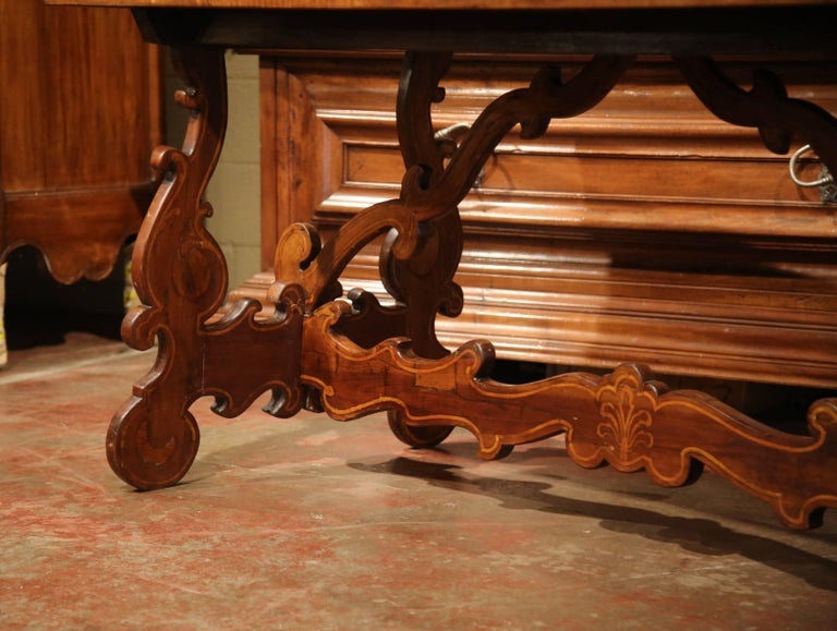 19th Century Italian Carved Walnut Trestle Table with Decorative Inlay Motifs For Sale 4