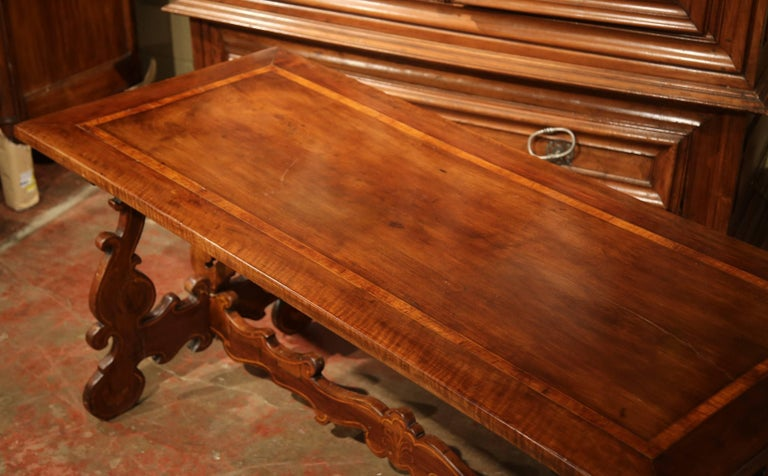 Louis XIII 19th Century Italian Carved Walnut Trestle Table with Decorative Inlay Motifs For Sale