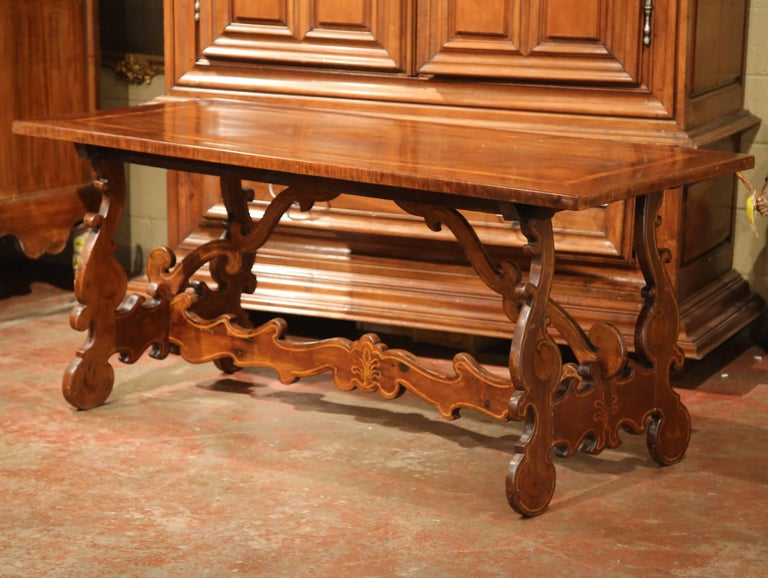 19th Century Italian Carved Walnut Trestle Table with Decorative Inlay Motifs In Excellent Condition For Sale In Dallas, TX
