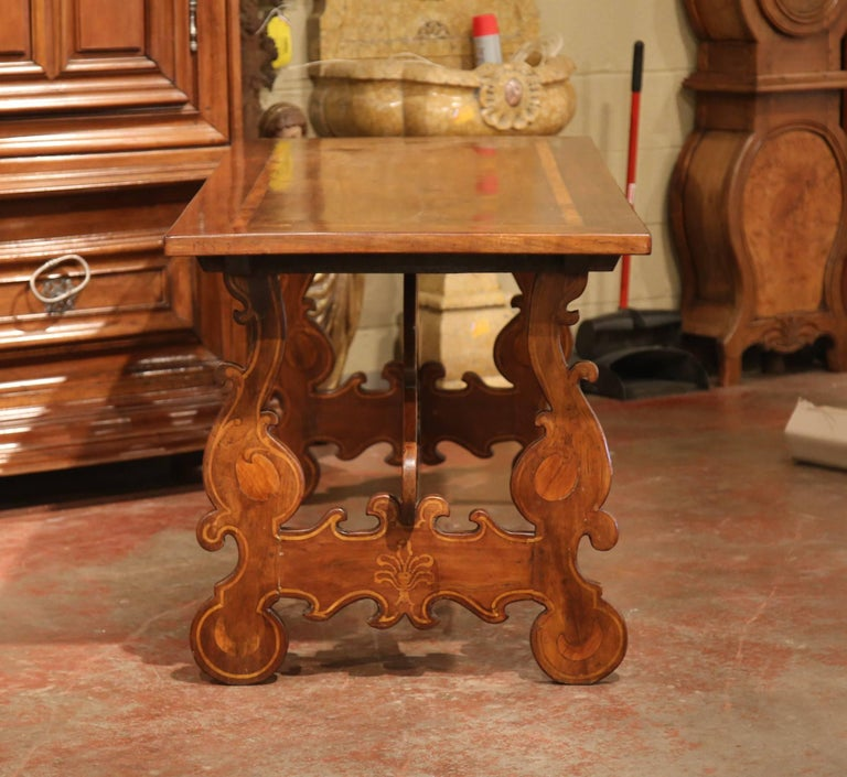 19th Century Italian Carved Walnut Trestle Table with Decorative Inlay Motifs For Sale 1
